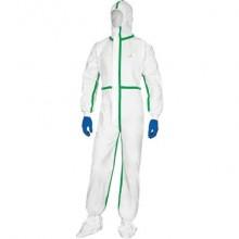Tute da lavoro DELTA PLUS Deltatek® 5000 c/cappuccio elasticizzata monouso - chiusura con zip bianco - XL - DT119XG