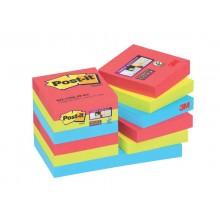 Foglietti riposizionabili Post-it® Super Sticky 47,6x47,6 mm Bora Bora conf. 12 blocc. da 90 ff - 622-12SS-JP