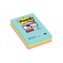 Foglietti Post-it® Super Sticky XXL Miami a righe assortiti conf. 3 blocchetti da 90 ff - 4690-SS3MIA