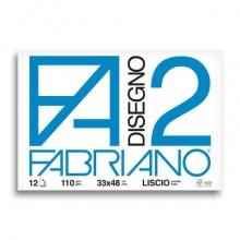 Album da disegno Fabriano F2 collato 1 lato 100 g/m² 12 33x48 cm ff. lisci 06200534