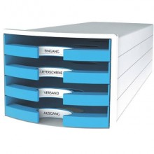 Cassettiera IMPULS HAN in polistirolo con 4 cassetti aperti azzurro 1013-54