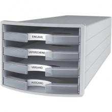 Cassettiera IMPULS HAN in polistirolo con 4 cassetti chiusi grigio traslucente-chiaro - 1013-63
