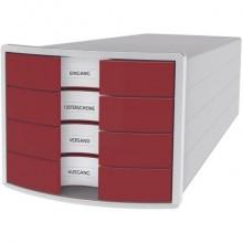 Cassettiera IMPULS HAN in polistirolo con 4 cassetti chiusi rosso 1012-17