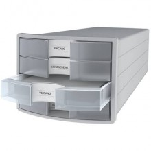 Cassettiera IMPULS HAN in polistirolo con 4 cassetti chiusi per A4/C4 grigio-trasparente - 1012-63