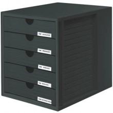 Cassettiera SYSTEMBOX HAN in polistirolo con 5 cassetti chiusi per A4/C4 nero 1450-13