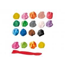 Plastilina modellabile GIOTTO Patplume assort. classici + fluo -cf. Appendibile da 18x20 g + 1 coltellino - 513100