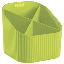 Portapenne X-LOOP HAN in polipropilene con 4 scomparti limone 17230-50