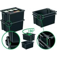 Contenitore Maxi impilabile in polipropilene 32 L Strata riciclabile nero - 2000460160