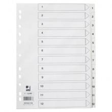 Divisore numerico Q-Connect bianco 22,5x29,7 cm ppl 1-12 KF00178