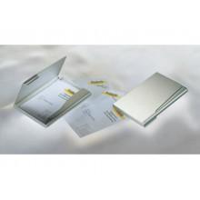 Portabiglietti da visita Durable BUSINESS CARD BOX alluminio argento metallizz. fino a 20 biglietti - 241523