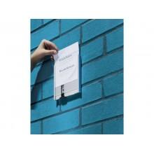 Targhe DURABLE INFO SIGN alluminio/acrilico trasparente/argento metallizzato 149x148,5 mm - 480223