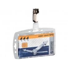 Portabadge Durable 54x87 mm con clip di sicurezza orientabile trasparente Conf. 25 pezzi - 800519