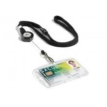 Chiocciole portabadge YO-YO Durable rotonde in plastica con cordoncino nero 822301 (Conf.10)