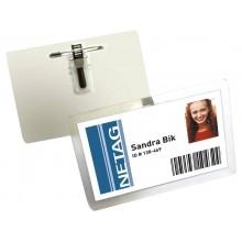 Portanomi DURABLE autolaminante con combi clip trasparente inserto fino a 54x90mm  conf. 25 - 823019