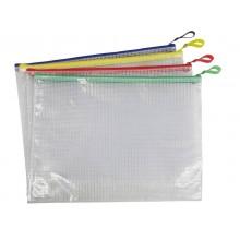 Busta in PVC Beautone trasparente con chiusura zip colorata 32,5x24 cm assortiti - D066099 (Conf.12)