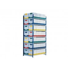 Scaffalatura metallica Paperflow Rang'Eco ad incastro 5 ripiani modulo base blu - K607170