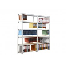 Scaffalatura metall. Paperflow Rang'Eco ad incastro 5 ripiani per cartelle sospese modulo aggiunta grigio - K652232