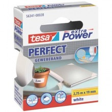 Nastro adesivo in tela tesa extra Power®Perfect plastificato 19 mm x 2,75 m bianco - 56341-00028-03