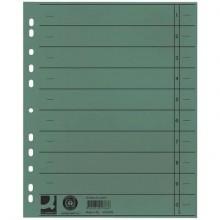 Separatore per archivio con perforazione universale Q-Connect 24x30 cm 230 g/m² verde  conf. da 100 - KF02788
