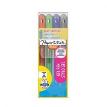 Penne Paper Mate InkJoy Gel 600 Stick M 0,7 mm assortiti - wallet da 4 (nero, blu, rosso, verde) - 2022537