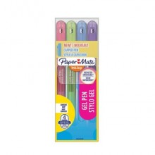 Penne Paper Mate InkJoy Gel 600 Stick M 0,7 mm assortiti - wallet da 4 (rosa, lime, viola, blue grey) - 2022538