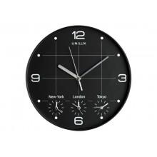 Orologio da parete al quarzo UNILUX On Time con 4 fusi orari Ø 30,5 cm nero 400094567