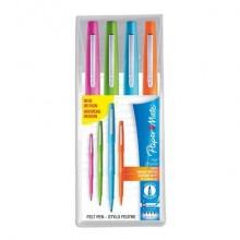 Penne punta fibra Paper Mate Flair/Nylon M 1,1 mm assortiti (turchese, arancione, magenta, viola)  set da 4 - S0697071
