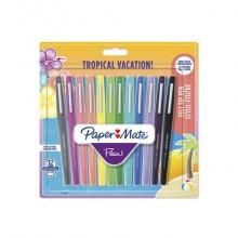 Penne punta fibra Paper Mate Flair/Nylon Tropical Vacation 1,0 mm assortiti bliter da 12 - 1951029