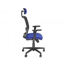 Sedia semidirezionale girevole Unisit Molly MLAPG con poggiatesta - schienale rete nero rivest. ignifugo blu MLAPG/IB