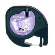 Nastro per etichettatrici Dymo LT plastica 12 mm x 4 m nero/trasparente S0721530