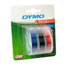 Nastri a rilievo per etichettatrici Dymo vinile 9 mm x 3 m assortiti blister da 3 - S0847750