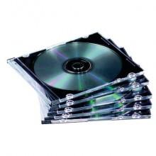 Porta CD e DVD FELLOWES base trasparente jewel case slim conf.10 - 9833801