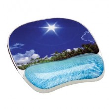 Tappetino mouse e poggiapolsi FELLOWES Photo Gel™ spiaggia tropicale multicolore 3,2x20,2x23 cm - 9202601