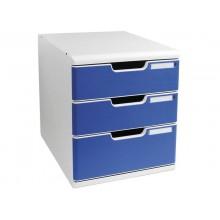 Cassettiera Exacompta MODULO A4 3 cassetti Classic PS grigio/blu 325003D