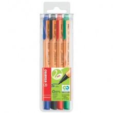 Penne con punta in fibra Stabilo GREENpoint 0,8 mm assortiti astuccio da 4 - 6088/4