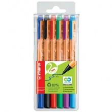 Penne con punta in fibra Stabilo GREENpoint 0,8 mm assortiti astuccio da 6 - 6088/6