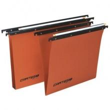 Cartelle sospese orizzontali per cassetti CARTESIO 38 cm fondo V arancio Conf. 50 pezzi - 100/380 -B2