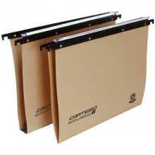 Cartelle sospese orizzontali per cassetti CARTESIO ECO 39 cm fondo U 3 cm avana Conf. 25 pezzi - 100/395 3-A1