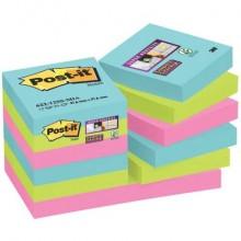 Foglietti riposizionabili Post-it® Super Sticky Miami 47,6x47,6 mm Miami conf. 12 blocc. da 90 ff - 622-12SS-MIA