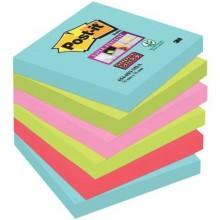 Foglietti riposizionabili Post-it® Super Sticky 76x76 mm Miami conf. 6 blocc. da 90 ff - 654-6SS-MIA