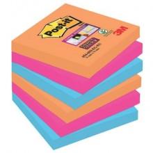 Foglietti riposizionabili Post-it® Super Sticky 76x76 mm Bangkok conf. 6 blocchetti da 90 ff - 654-6SS-EG
