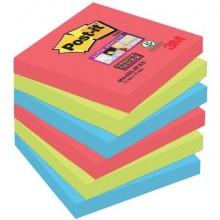 Foglietti riposizionabili Post-it® Super Sticky 76x76 mm Bora Bora conf. 6 blocchetti da 90 ff - 654-6SS-JP