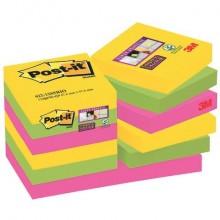 Foglietti riposizionabili Post-it® Super Sticky 47,6x47,6 mm Rio de Janeiro conf. 12 blocc. da 90 ff - 622-12SS-RIO