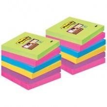 Foglietti Post-it® Super Sticky Note a righe 76x76 mm assortiti conf. 12 blocchetti da 90 ff - 654-12SSUC