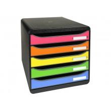 Cassettiera 5 cassetti Big-Box arlecchino per A4+ 34,7x27,8x27,1 cm 309798D
