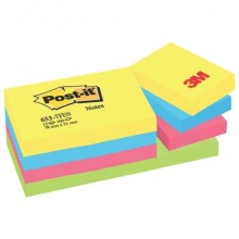Foglietti riposizionabili Post-it® Notes Energy 51x38 mm neon assortiti conf. 12 blocchetti da 100 ff - 653-TFEN