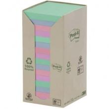 Foglietti Post-it® Notes carta riciclata 76x76mm assort pastello Torre da 16 blocchetti da 100 ff - 654-1RPT