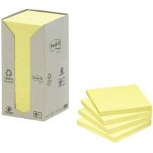 Foglietti Post-it® Notes Giallo 76x76 mm carta riciclata Torre da 16 blocchetti da 100 ff - 654-1T