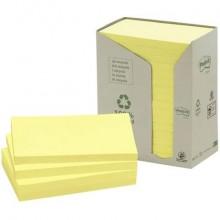 Foglietti Post-it® Notes Giallo 76x127mm carta riciclata torre da 16 blocchetti da 100 ff - 655-1T