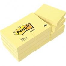 Foglietti riposizionabili classici Post-it® Notes 38x51 mm 100 ff Giallo Canary™  conf. da 12 - 653E